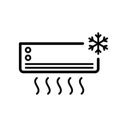 Air conditioning icon flat vector simple isolated illustration signage template design trendy